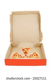 takeout cardboard delivery box with three slices of pepperoni and pineapple pizza on white background