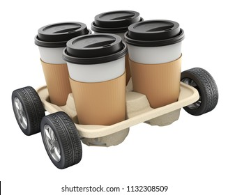 Takeout Coffee Cup with the Lid and Holder - 3D illustration