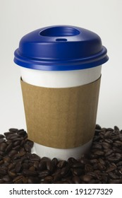Take-out coffee in thermo cup.