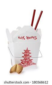 Takeout container with red chopsticks and fortune cookie on white background