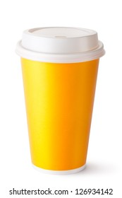 Take-out cup for hot drinks. Isolated on a white.