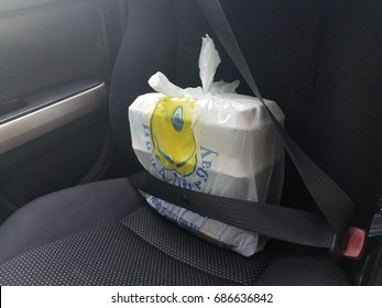 takeout food bag and boxes wearing seatbelt