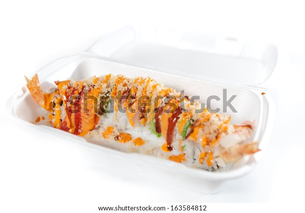 Takeout Sushi Roll Styrofoam Box Stock Photo (Edit Now