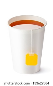 Take-out teacup with tea and yellow label. Isolated on a white.