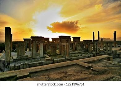 Takht-e Jamshid ( Parse or Persepolis ) View of Persepolis at Sunset Iran, Fars, Shiraz
