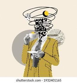 Machen Sie eine Pause. Comics stylen gelben, gepunkteten Anzug. Modernes Design, zeitgenössische Kunstcollage. Inspiration, Ideenkonzept, trendiger urbaner Zeitschriftenstil. Negativer Platz zum Einfügen von Text oder Werbung.