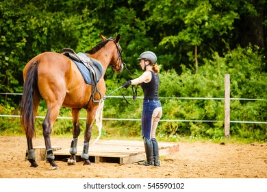 Taking care of animals, horsemanship, equine concept. Jockey young woman in helmet getting horse ready for ride on countryside.
