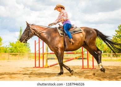Taking care of animals, horsemanship, western competitions concept. Cowgirl in cowboy hat doing horse jumping through hurdle on sunny day
