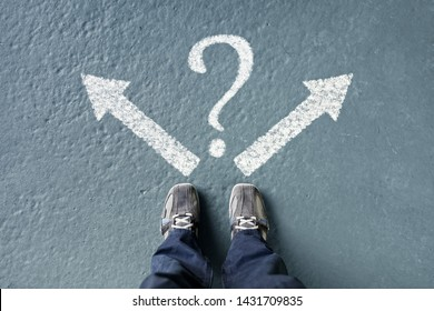 Taking decisions for the future man standing with direction arrow choices and question mark, left, right or move forward