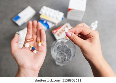taking medikaments pills for medication