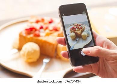 Taking photo of honey toast