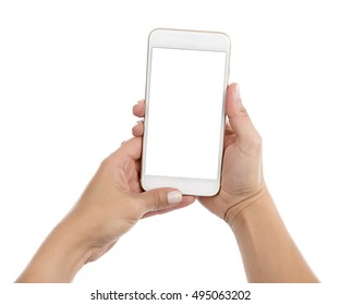 Taking photo with mobile smart phone isolated on white background with clipping path for the screen.