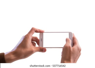 Taking photo with mobile smart phone isolated on white background