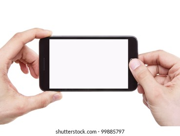 Taking photo with mobile smart phone isolated on white background with clipping path for the screen