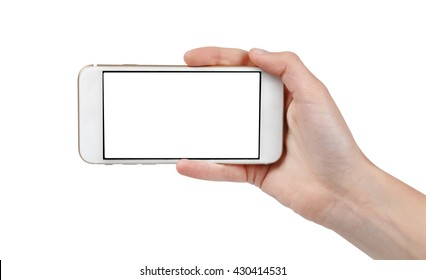Taking photo with a phone isolated on white