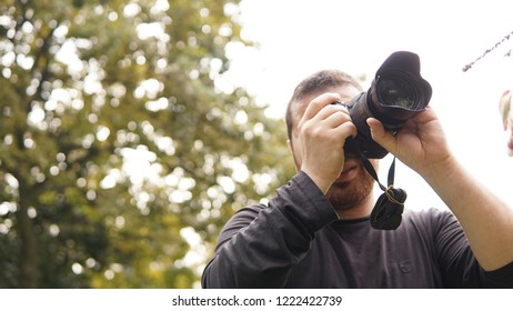 Taking a photo with professional camera