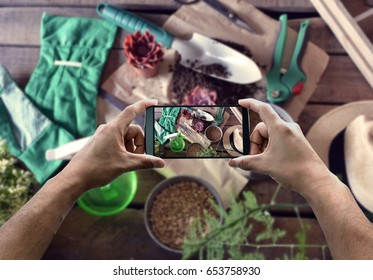 taking photograph of gardening products with your smartphone from above