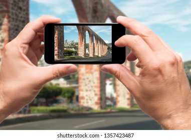 Taking picture Archs in Queretaro city, Mexico