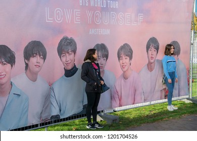 Taking Pictures At A Billboard Before The BTS Concert At The Ziggo Dome Amsterdam The Netherlands 2018