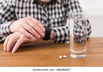 Two Separate Pile Coins On Wooden Stock Photo (Edit Now