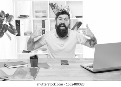 Taking responsibility of actions. Arrogant disgruntled businessman with high self esteem. Self-satisfied and proud caucasian man. happy bearded business man or employee. office worker character.