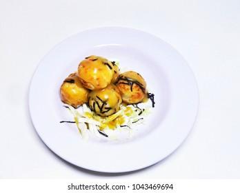 Tako Yaki Japan food on white background. Isolated.