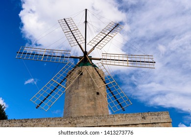 Ta'Kola Windmill, Xaghra, Gozo, Malta, a traditional windmill for grinding grain from the early 1700s and popular tourist attraction.