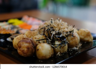 takoyaki octopus ball.  japanese food. delicious barbecue snack from japan