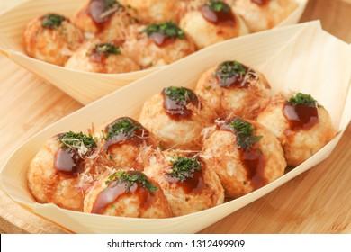 takoyaki; octopus dumplings