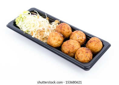 Takoyaki on white background