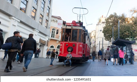 Taksim, Beyoglu Istiklal street and tram. It is one of the districts of Istanbul. It is possible to see many different ethnic and foreign cultures together. Istanbul (Turkey November 2018)