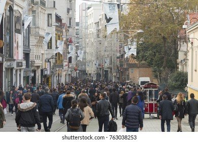 Taksim istiklal street is always a crowded, busy, vibrant street. The historical tram line crosses the street,Beyoglu,taksim,Istanbul,Turkey,November 2017