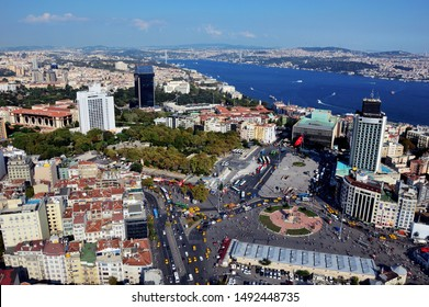 Taksim square, Gezi park, istanbul from the air