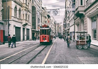 Taksim Square tramway - Istnabul Turkey