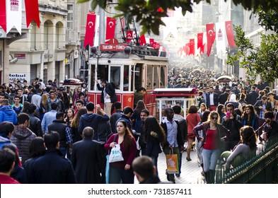 Taksim ?stiklal street is always a crowded, busy, vibrant street. The historical tram line crosses the street,Beyoglu,taksim,Istanbul,Turkey,October 2014