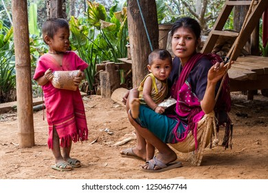 TAK,THAILAND - FEBRUARY 21,2013: Underprivileged children,Study in the wilderness,poor and needy.,The story of rural people's way of life. Karen is with nature on the jungle.