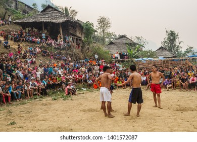 TAK,THAILAND - MARCH 23,2013: The story of rural people's way of life. Karen is with nature on the jungle.Traditional Thai Boxing.The Karen people border the Thai-Myanmar.Fighting ,Muay Thai,