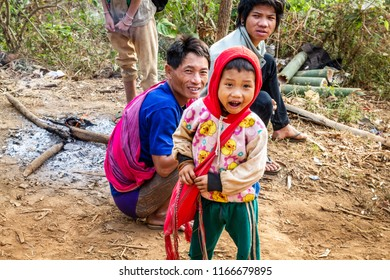 TAK,THAILAND -NOVEMBER 24,2011: Underprivileged children,Study in the wilderness,poor and needy.,The story of rural people's way of life. Karen is with nature on the jungle.
