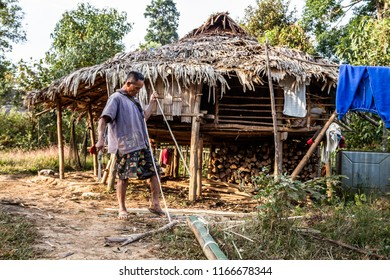 TAK,THAILAND - NOVEMBER 24,2011:Karen man, bamboo basketryThe story of rural people's way of life. Karen is with nature on the jungle.