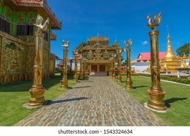 Tak,Thailand - October 19, 2019 Golden Temple with Golden Swan Pole in Wat Thai Wattanaram (Wat Thai Yai), Burmese-style temple, Tak Thailand