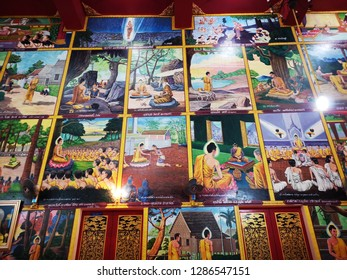 tak,THAILAND-JAN 7,2019: Wat Sitalaram or Wat Nam Hak is an old temple containing Kuti, the monk's residence, and Bot or Phra Ubosot, the ordination hall, built into the European style with wood carvi