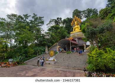 Tak,Thailan-October 16, 2019 : Golden Temple with Golden Wwan Pole in wat Thai Wattanaram (Wat Thai Yai), Burmese-style Temple, Tak Thailand