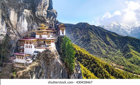Taktshang Goemba or Tiger's nest Temple the beautiful buddhist temple.The most sacred place in Bhutan is located on the high cliff mountain with sky of Paro valley, Bhutan.