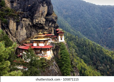 Taktshang Goemba(Tigers Nest Monastery), Bhutan, in  a mountain cliff.