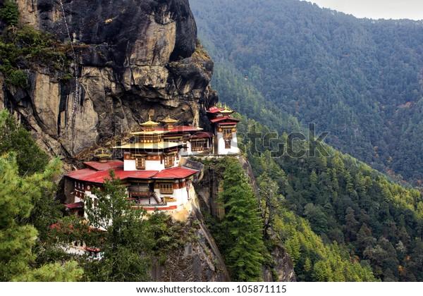Taktshang Goemba(Tigers Nest Monastery), Bhutan, in  a mountain cliff.