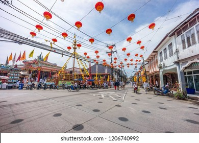 TAKUA PA, PHANG NGA/THAILAND - OCT 14, 2018: People gathering around an ahm in a vegetarian festival. This annual festival takes place from Oct 9 to Oct 17, 2018.