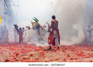 TAKUA PA, PHANG NGA/THAILAND - OCT 14, 2018: The procession of masong and litter in a vegetarian festival. This annual festival takes place from Oct 9 to Oct 17, 2018.