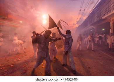 Takuapa,Phang-Nga,Thailand-2015 October 18 : People celebrate a vegetarian festival during the festival ritual mortification is practised to appease the Gods.Action photography Capturing movement.