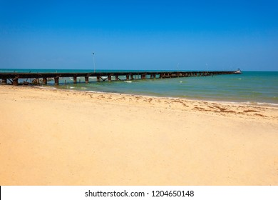 Talaimannar pier, Sri Lanka. Talaimannar is located on the northwestern coast of Mannar Island and about 18 miles from Dhanushkodi indian town.