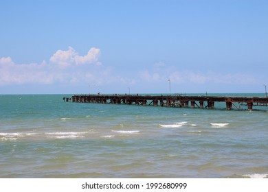 Talaimannar pier, Sri Lanka. Talaimannar is located on the northwestern coast of Mannar Island and about 18 miles from Dhanushkodi indian town. Beauty of coastal line lay with great blue sky.